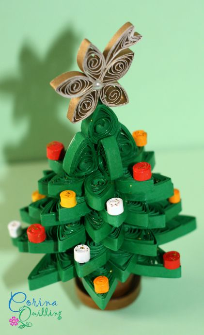 quilling christmas decorations: 3d quilling christmas tree