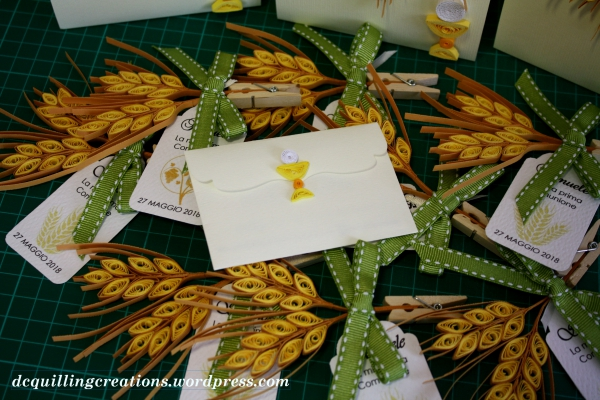 segnaposti comunione spighe di grano