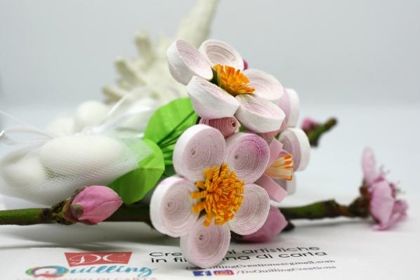 decorazione bomboniera rametto fiori quilling