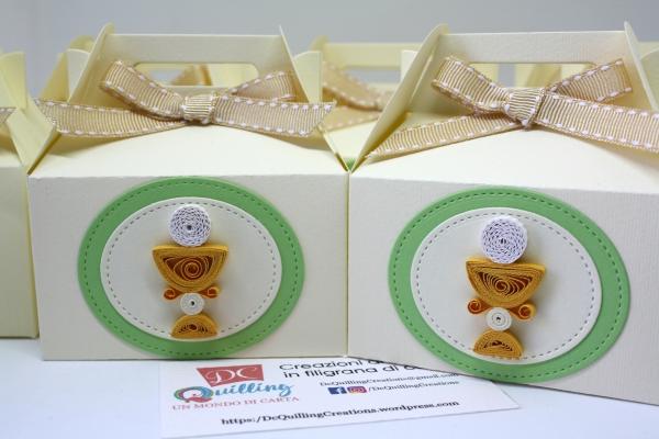 portaconfetti prima comunione con calice in quilling