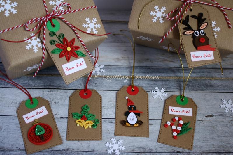 bigliettini natalizi con decorazioni in filigrana di carta