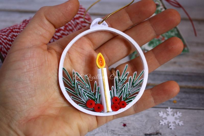 pallina di natale con candela e rami di abete fatta a mano
