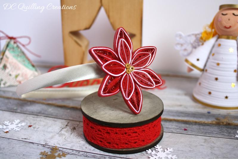 cerchietto bimba natalizio con stella di Natale in filigrana di carta