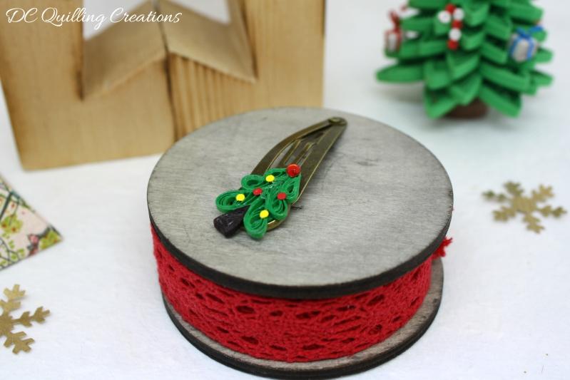 mollette capelli albero di Natale in quilling