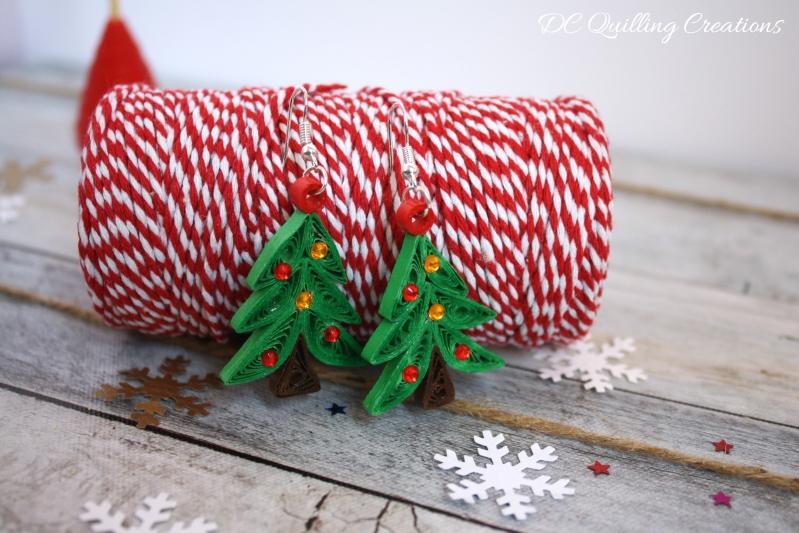 Orecchini Albero di Natale in filigrana di carta