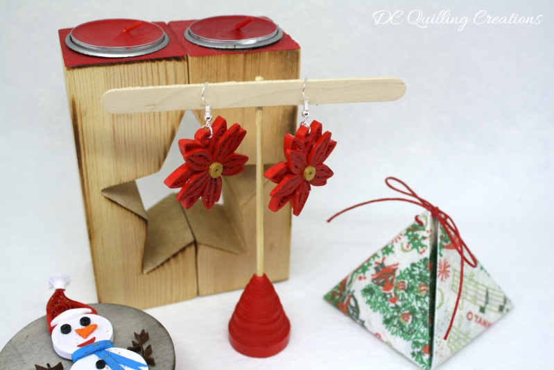 Orecchini Stella di Natale in filigrana di carta